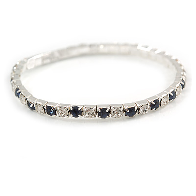Slim Montana Blue/ Clear Crystal Flex Bracelet In Silver Tone Metal - up to 17cm L - For Small Wrist - main view