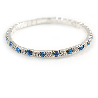 Slim Sky Blue/ Clear Crystal Flex Bracelet In Silver Tone Metal - up to 17cm L - For Small Wrist - main view