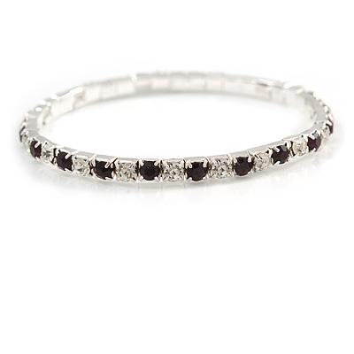 Slim Amethyst/ Clear Crystal Flex Bracelet In Silver Tone Metal - up to 17cm L - For Small Wrist
