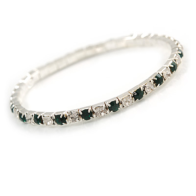 Slim Emerald Green/ Clear Crystal Flex Bracelet In Silver Tone Metal - up to 17cm L - For Small Wrist - main view
