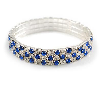 Sapphire Blue/ Clear Flex Bracelet in Silver Tone - 17cm L - main view