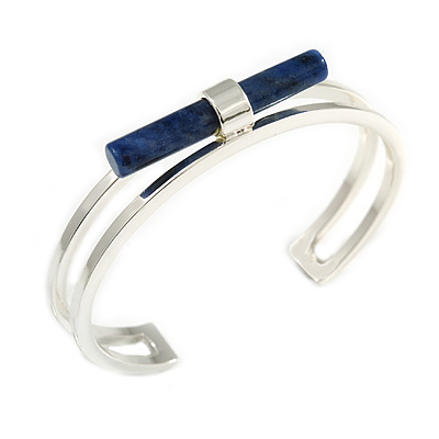 Rhodium Plated with Sodalite Central Stone Cuff Bangle Bracelet - 17cm Long