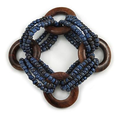 Multistrand Denim Blue Glass Bead with Wooden Rings Flex Bracelet - Medium - main view