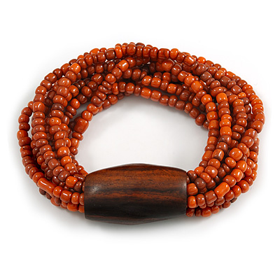 Multistrand Dusty Orange Glass Bead with Brown Wooden Bead Flex Bracelet - Medium - main view