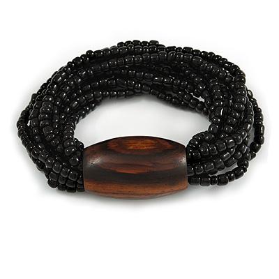 Multistrand Black Glass Bead with Brown Wooden Bead Flex Bracelet - Medium - main view