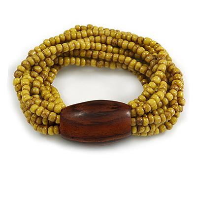 Multistrand Dusty Yellow Glass Bead with Brown Wooden Bead Flex Bracelet - Medium - main view