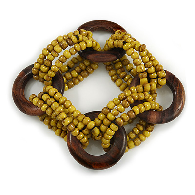 Multistrand Dusty Yellow Glass Bead with Wooden Rings Flex Bracelet - Medium - main view