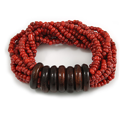 Multistrand Red-Brown Glass Bead with Wooden Rings Flex Bracelet - Medium - main view