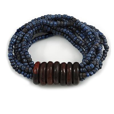 Multistrand Denim Blue Glass Bead with Wooden Rings Flex Bracelet - Medium