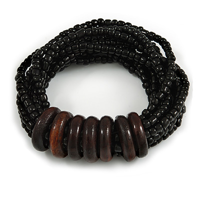 Multistrand Black Glass Bead with Wooden Rings Flex Bracelet - Medium - main view
