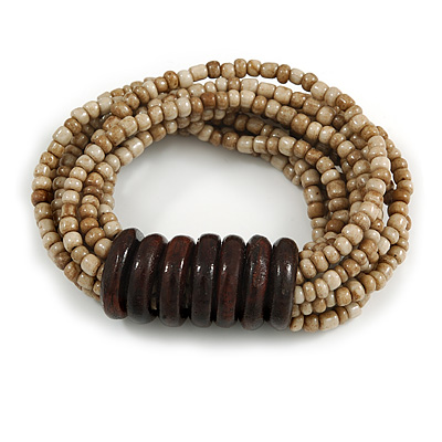 Multistrand Antique White Glass Bead with Wooden Rings Flex Bracelet - Medium - main view