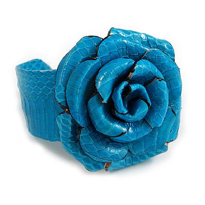 Statement Turquoise Snake Print Leather Rose Flower Flex Cuff Bangle Bracelet - Adjustable