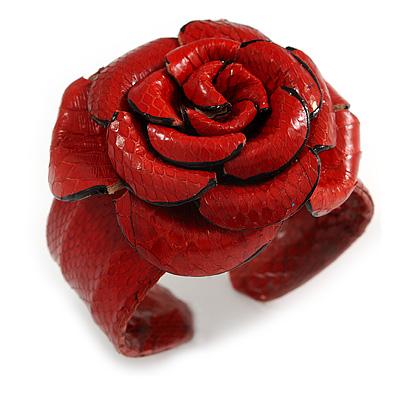 Statement Red Snake Print Leather Rose Flower Flex Cuff Bangle Bracelet - Adjustable
