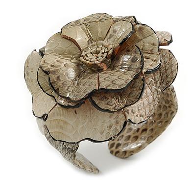 Statement Off White/ Grey Snake Print Leather Flower Flex Cuff Bangle Bracelet - Adjustable - main view
