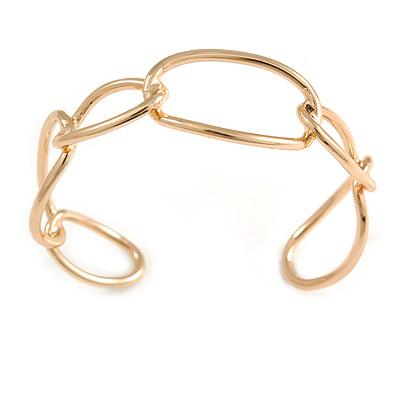 Polished Gold Tone Irregular Oval Link Cuff Bracelet - 19cm - Adjustable