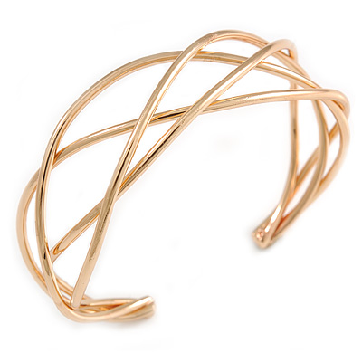 Modern Twisted Bar Cuff Bangle Bracelet In Polished Gold Tone - 18cm Long