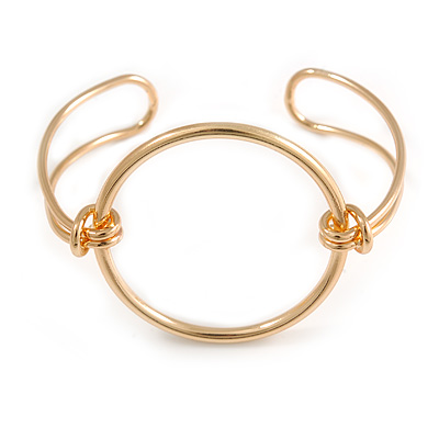 Modern Open Circle Cuff Bracelet Bangle In Polished Gold Tone Metal - 18cm Long - Adjustable