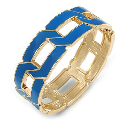 Royal Blue Enamel Link Oval Hinged Bangle Bracelet In Gold Tone - 18cm Long