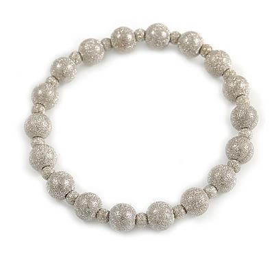 Silver-Tone Textured Bead Flex Bracelet - 18cm Long