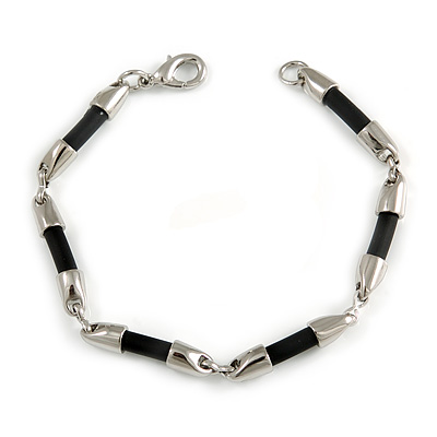 Silver Tone with Black Rubber Bar Element Fashion Bracelet - 19cm L