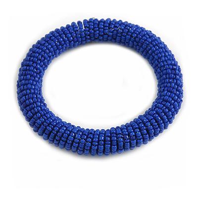 Blue Glass Bead Roll Stretch Bracelet - Adjustable