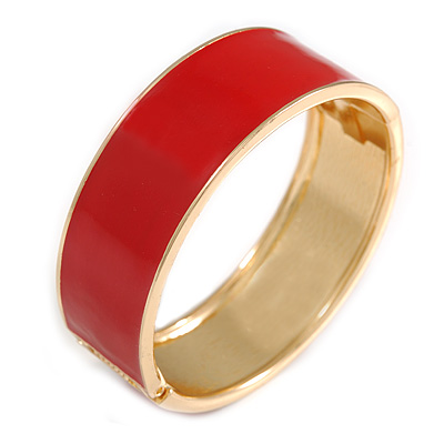 Round Scarlet Red Enamel Hinged Bangle Bracelet in Gold Tone Metal - 20cm Long/ 60mm Diameter