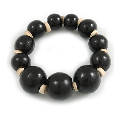 Black Graduated Wood Bead Flex Bracelet - 18cm Long - main view