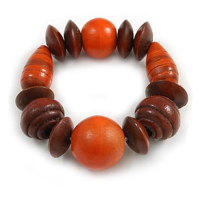Statement Chunky Wood Bead Flex Bracelet in Orange/ Brown - Medium
