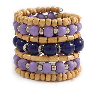 Wide Coiled Ceramic, Acrylic, Wood Bead Bracelet (Lavender, Dark Blue, Natural) - Adjustable