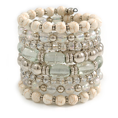 Wide Coiled Ceramic, Acrylic, Glass Bead Bracelet (White, Silver, Transparent) - Adjustable