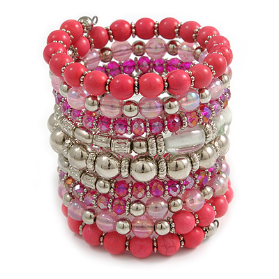 Wide Coiled Ceramic, Acrylic, Glass Bead Bracelet (Pink, Fuchsia, Transparent) - Adjustable - main view