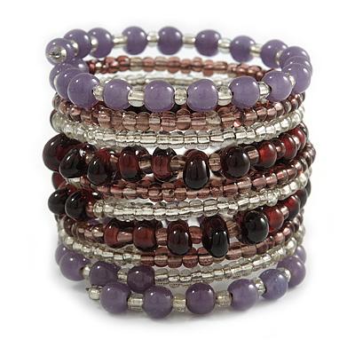 Wide Coiled Ceramic, Glass Bead Bracelet (Lavender, Plum, Transparent) - Adjustable
