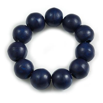 Dark Blue Round Bead Wood Flex Bracelet - 19cm Long
