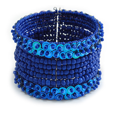 Bohemian Beaded Cuff Bangle with Sequin (Blue) - Adjustable