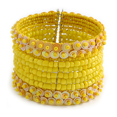 Bohemian Beaded Cuff Bangle with Sequin (Banana Yellow) - Adjustable
