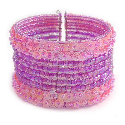 Bohemian Beaded Cuff Bangle with Sequin (Pink/ Lavender) - Adjustable