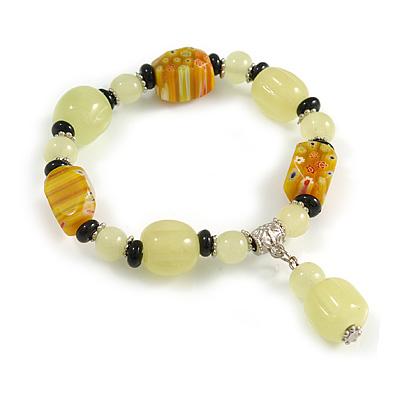 Lemon Yellow/ Black Glass and Ceramic Bead Charm Flex Bracelet - 19cm Long
