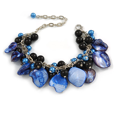 Blue/ Black Simulated Pearl Bead & Shell Component Charm Bracelet (Silver Tone) - 15cm Long/ 7cm Ext