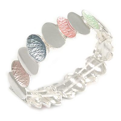 Pastel Multi Enamel Oval Cluster Textured Flex Bracelet In Silver Tone - 18cm Long - main view