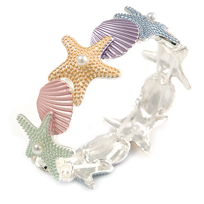 Pastel Multi Enamel Textured Starfish and Shell Flex Bracelet In Silver Tone - 20cm Long