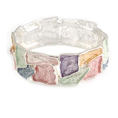 Pastel Multi Enamel Geometric Hammered Flex Bracelet In Silver Tone - 20cm Long