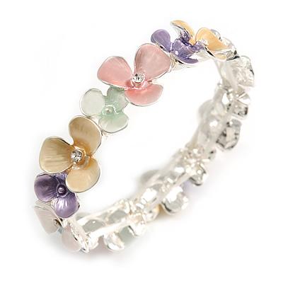 Pastel Multicoloured Enamel Floral Flex Bracelet in Silver Tone - 20cm Long