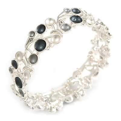 Dark Grey/ Grey/ Metallic Cherry  Flex Bracelet in Silver Tone - 20cm Long
