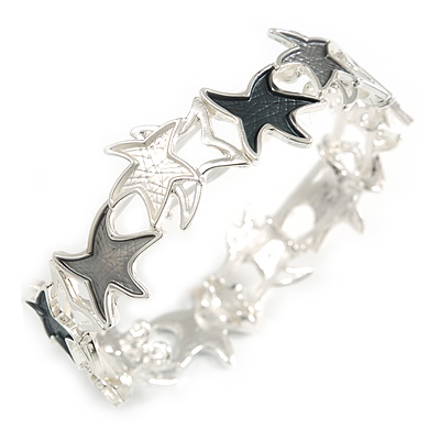 Grey/ White Enamel Starfish Flex Bracelet in Silver Tone - 20cm Long