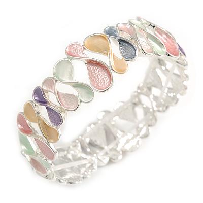 Pastel Multi Enamel Infinity Cluster Textured Flex Bracelet In Silver Tone - 20cm Long