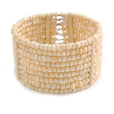 Cream Glass Bead Flex Cuff Bracelet - Medium