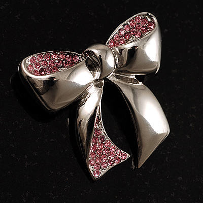 Silver Tone Pink Crystal Bow Brooch - main view