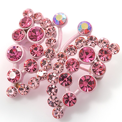Pink Crystal Batterfly Pin Brooch