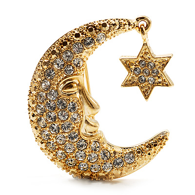 Crystal Moon And Star Fashion Brooch (Gold Tone)