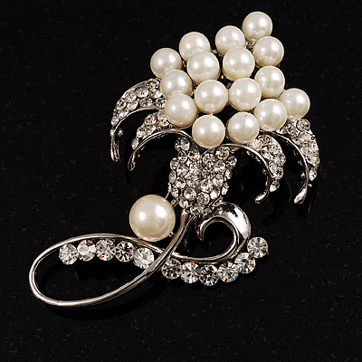 Large Simulated Pearl Flower Fashion Wedding Brooch